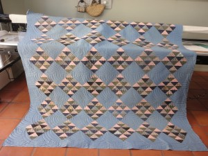 Blue squares quilted