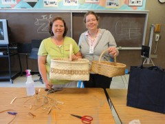 Shannon and Heather with their finished baskets