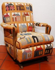 House block exchange quilted and used as upholstery!