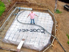 Jerry got the ground ready to pour the concrete footings for the studio